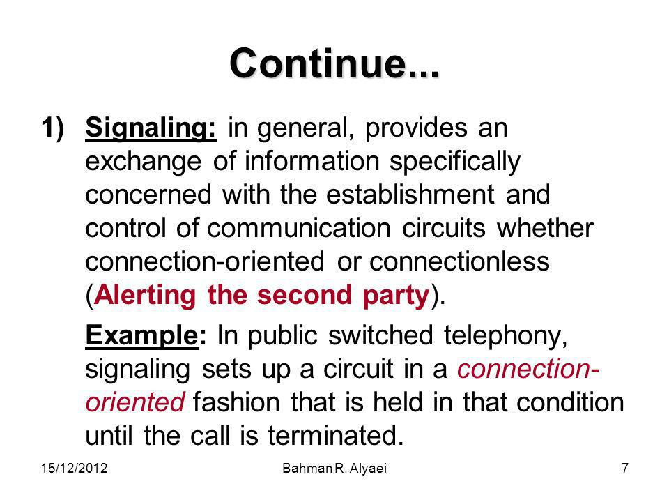 15/12/2012Bahman R.Alyaei78 Continue… The PSTN is the dial-up telephone network.