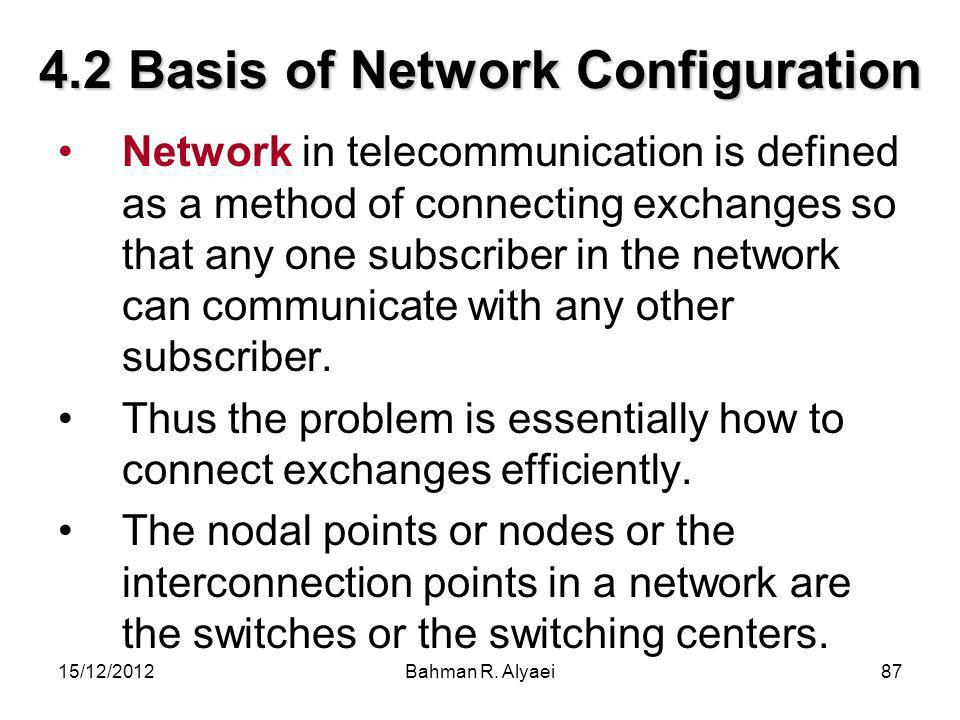 15/12/2012Bahman R. Alyaei87 4.2 Basis of Network Configuration Network in telecommunication is defined as a method of connecting exchanges so that an