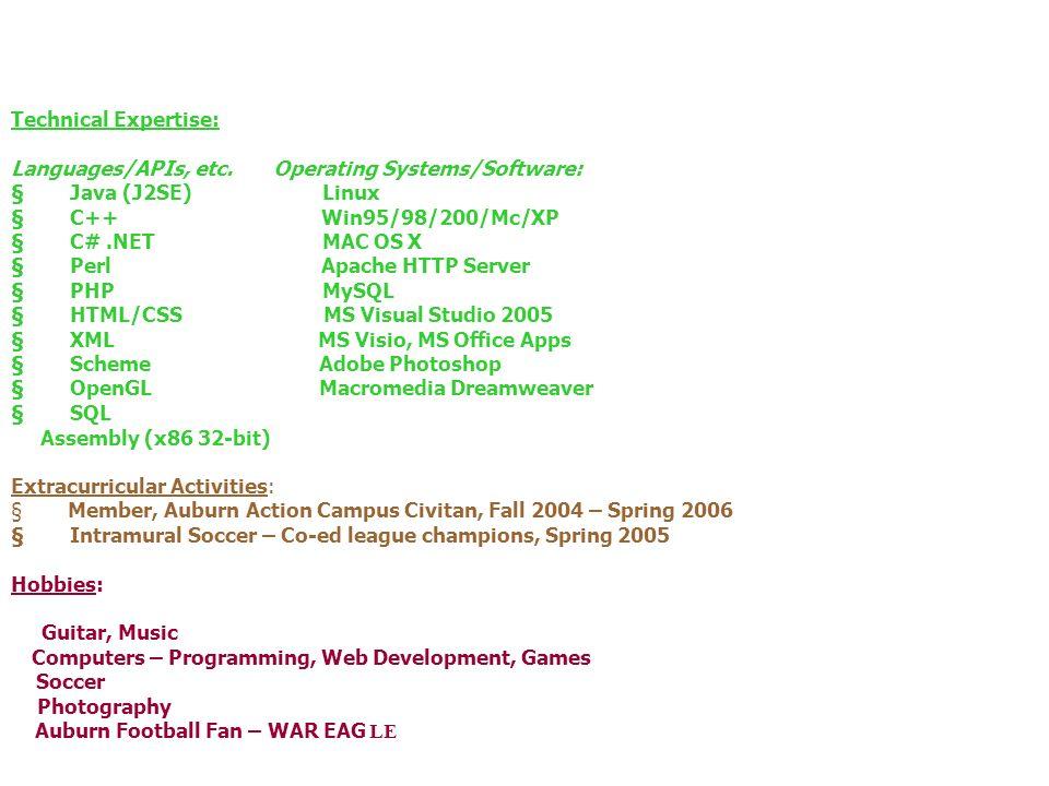 Technical Expertise: Languages/APIs, etc.