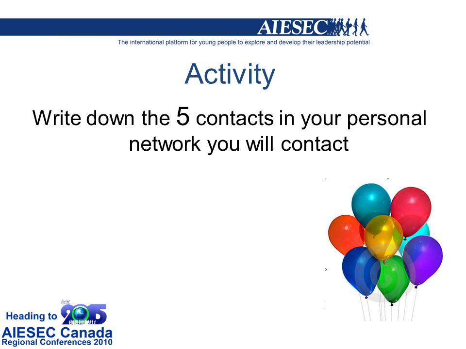 Activity Write down the 5 contacts in your personal network you will contact