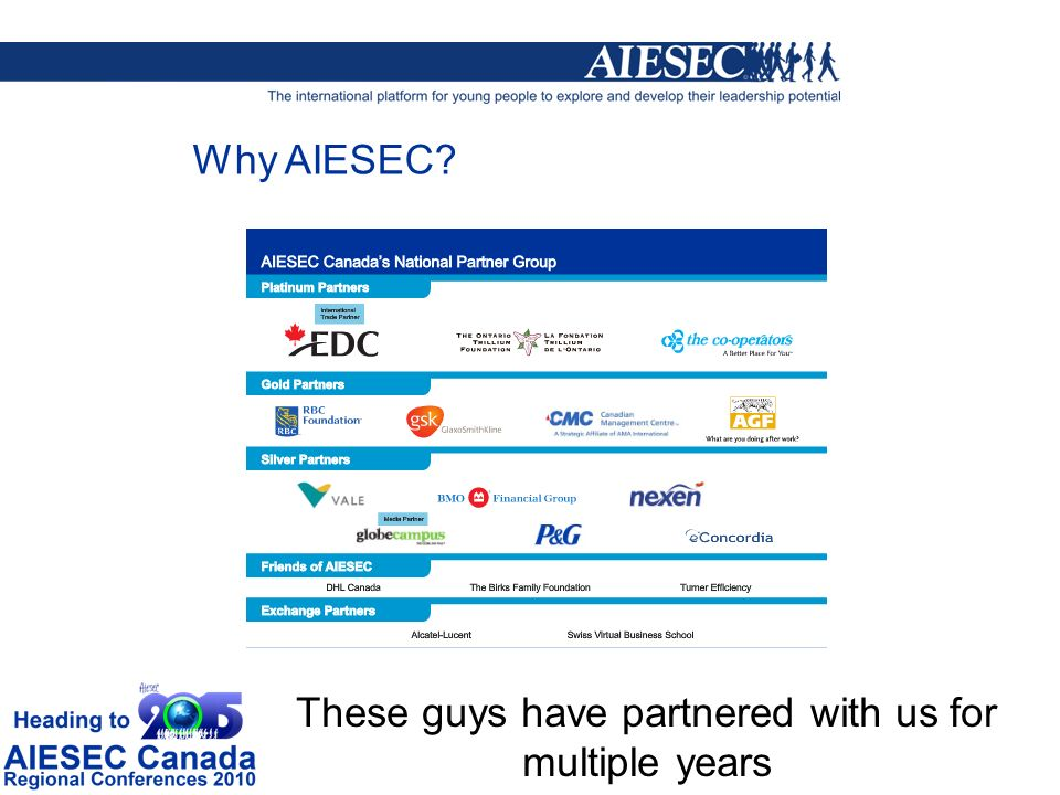 These guys have partnered with us for multiple years Why AIESEC