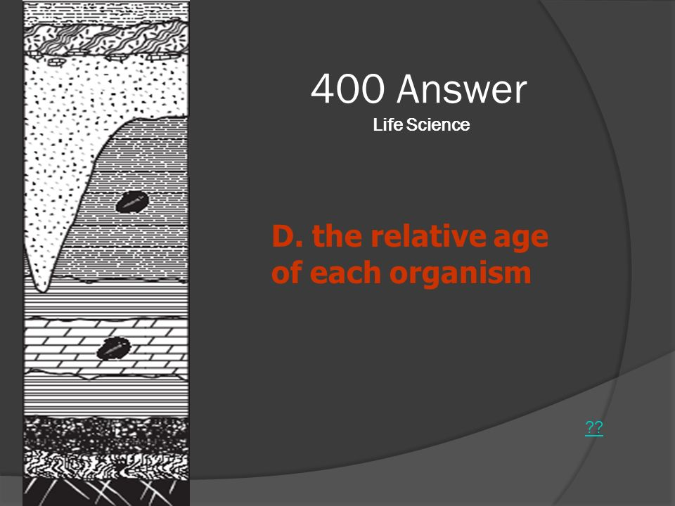 400 Answer Life Science ?? D. the relative age of each organism