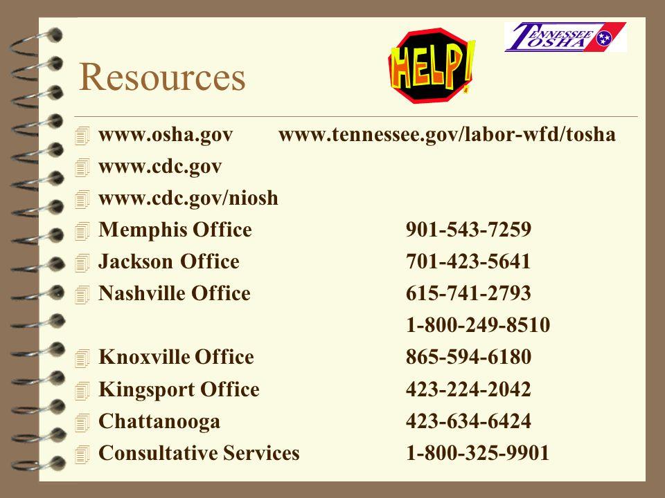 Resources 4 www.osha.gov www.tennessee.gov/labor-wfd/tosha 4 www.cdc.gov 4 www.cdc.gov/niosh 4 Memphis Office901-543-7259 4 Jackson Office701-423-5641