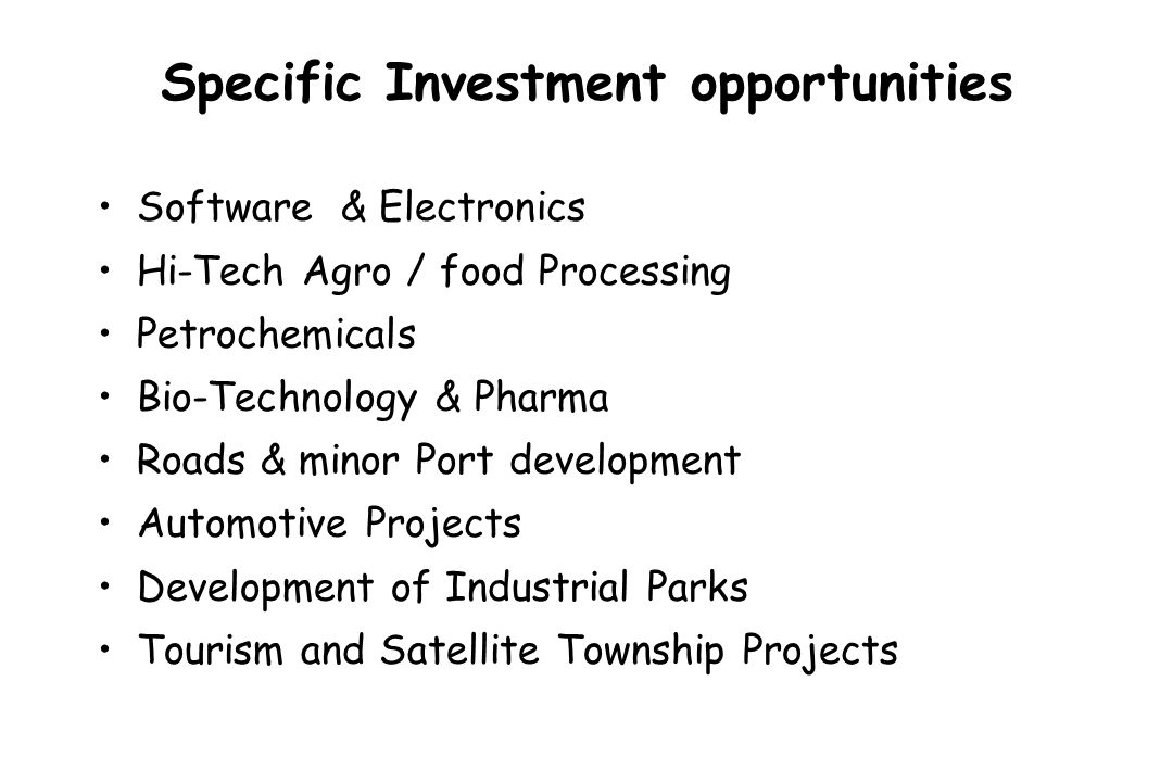 Specific Investment opportunities Software & Electronics Hi-Tech Agro / food Processing Petrochemicals Bio-Technology & Pharma Roads & minor Port deve