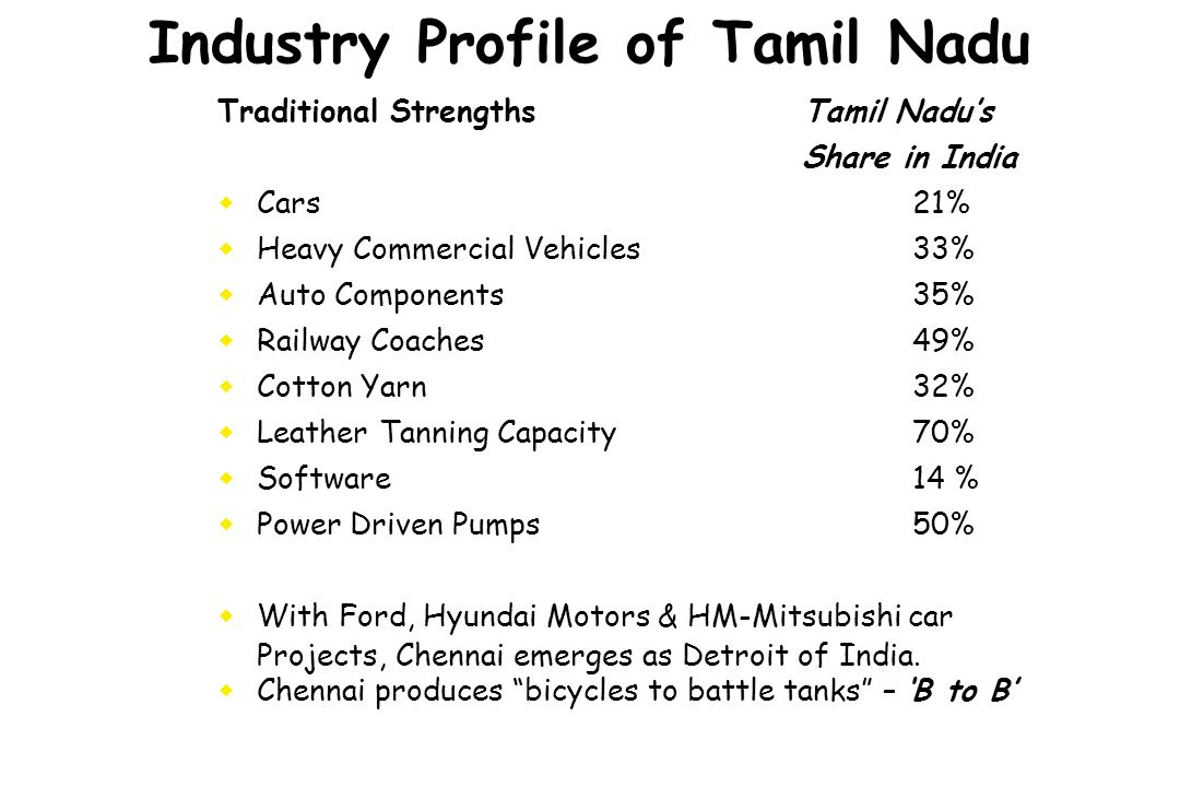 Industry Profile of Tamil Nadu Traditional Strengths Tamil Nadus Share in India Cars21% Heavy Commercial Vehicles33% Auto Components35% Railway Coache