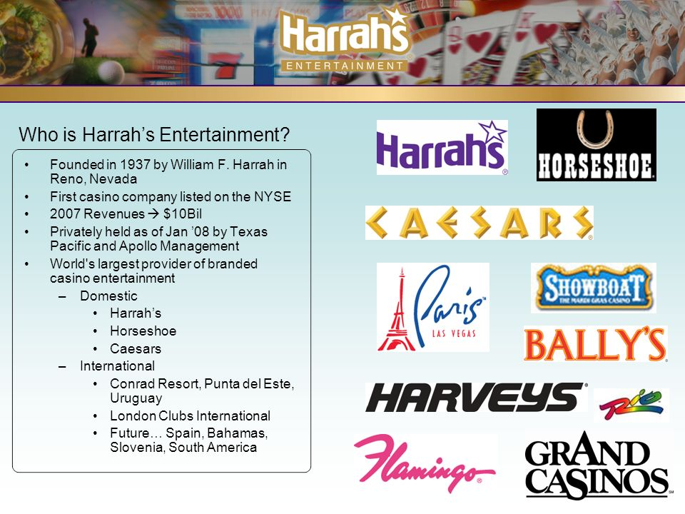 Who is Harrahs Entertainment. Founded in 1937 by William F.