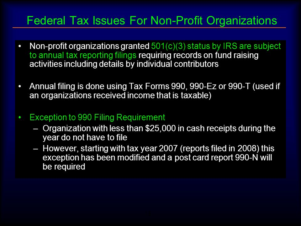 15 Federal Tax Issues For Non-Profit Organizations Non-profit organizations granted 501(c)(3) status by IRS are subject to annual tax reporting filing