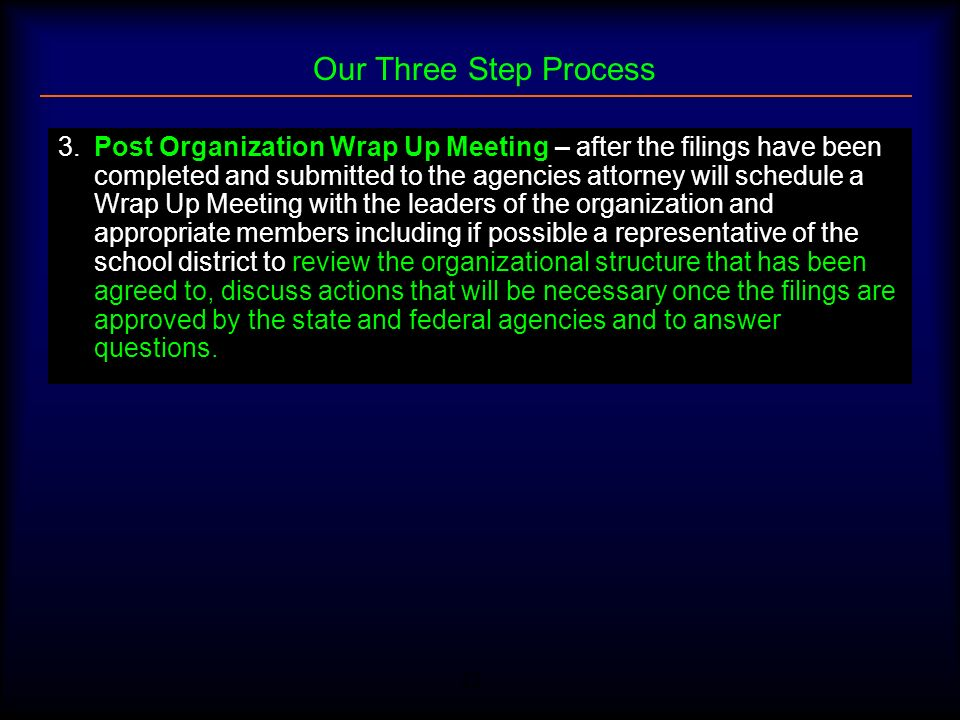 22 Our Three Step Process 3.Post Organization Wrap Up Meeting – after the filings have been completed and submitted to the agencies attorney will sche