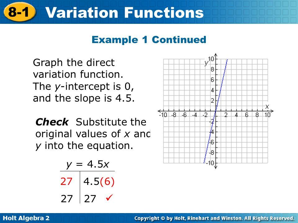 Holt Algebra 2 8-1 Variation Functions Method 2 Use t 1 v 1 = t 2 v 2.