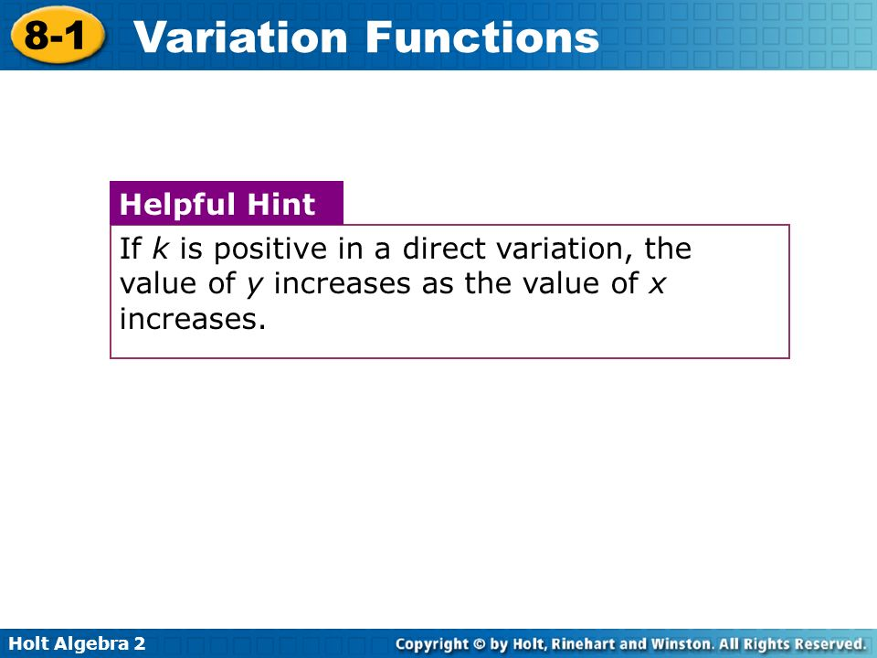 Holt Algebra 2 8-1 Variation Functions A third type of variation describes a situation in which one quantity increases and the other decreases.