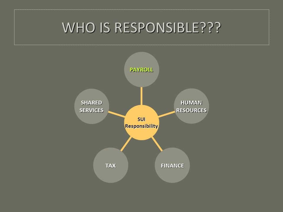 WHO IS RESPONSIBLE SUIResponsibility PAYROLL HUMANRESOURCES FINANCETAX SHAREDSERVICES