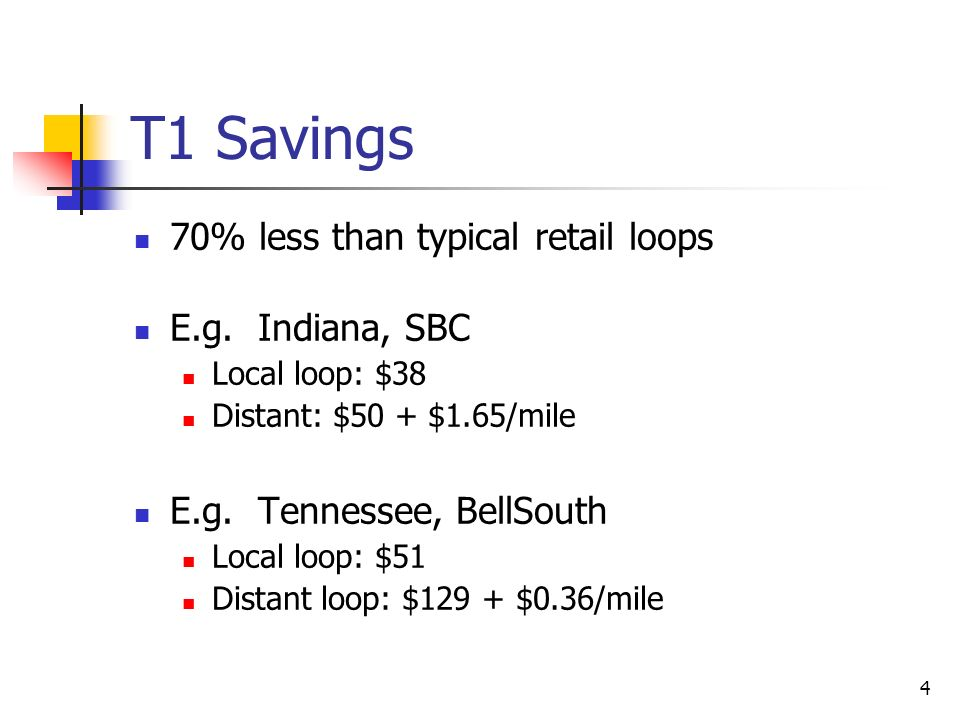 4 T1 Savings 70% less than typical retail loops E.g. Indiana, SBC Local loop: $38 Distant: $50 + $1.65/mile E.g. Tennessee, BellSouth Local loop: $51