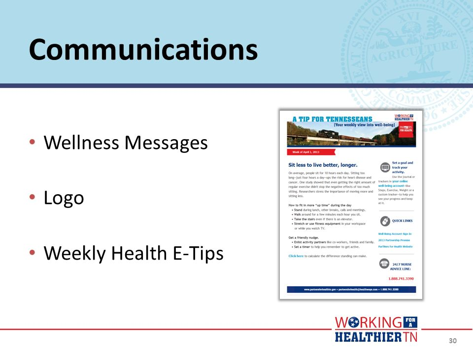 30 Wellness Messages Logo Weekly Health E-Tips Weekly E-Tip Thumbnail Communications
