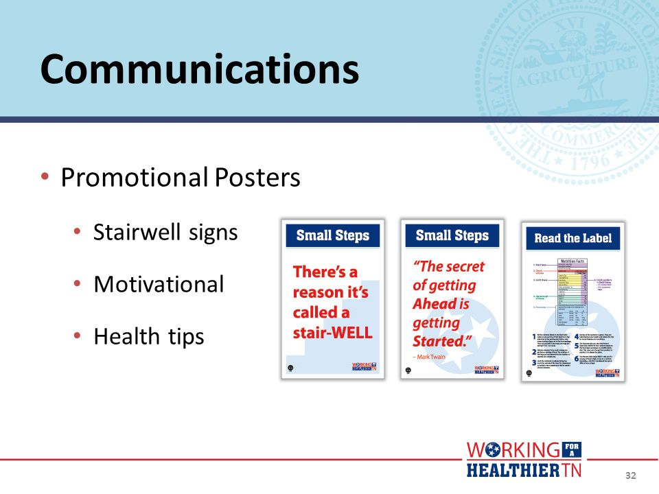 32 Promotional Posters Stairwell signs Motivational Health tips Communications