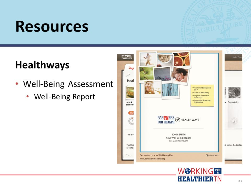 37 Healthways Well-Being Assessment Well-Being Report Resources