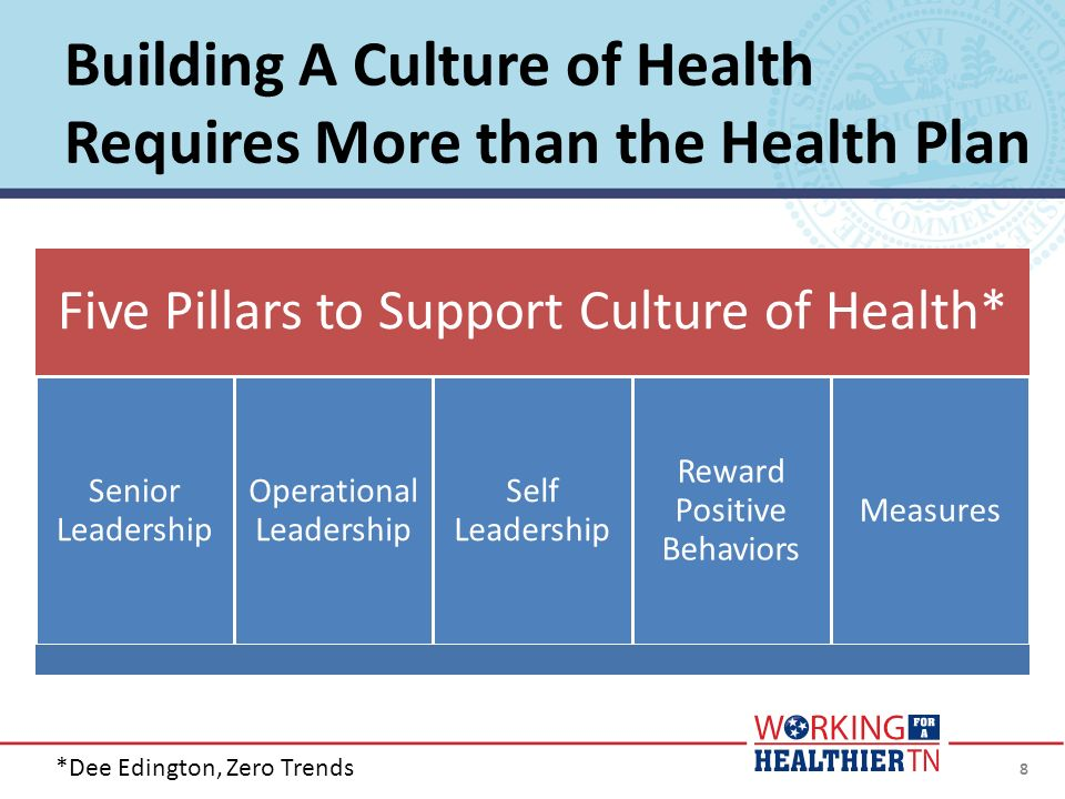 Building A Culture of Health Requires More than the Health Plan 8 Five Pillars to Support Culture of Health* Senior Leadership Operational Leadership