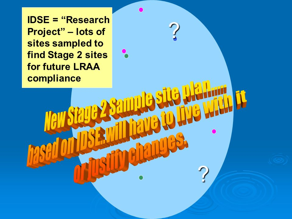 ? ? IDSE = Research Project – lots of sites sampled to find Stage 2 sites for future LRAA compliance