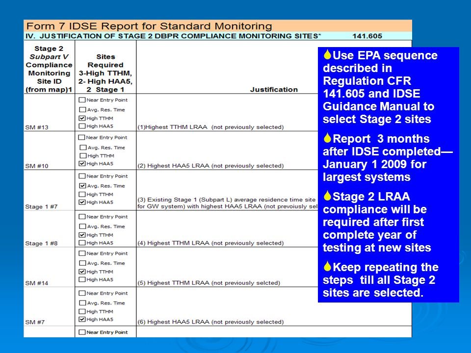 Use EPA sequence described in Regulation CFR 141.605 and IDSE Guidance Manual to select Stage 2 sites Report 3 months after IDSE completed January 1 2