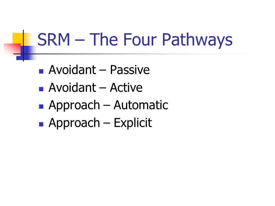 SRM – The Four Pathways Avoidant – Passive Avoidant – Active Approach – Automatic Approach – Explicit