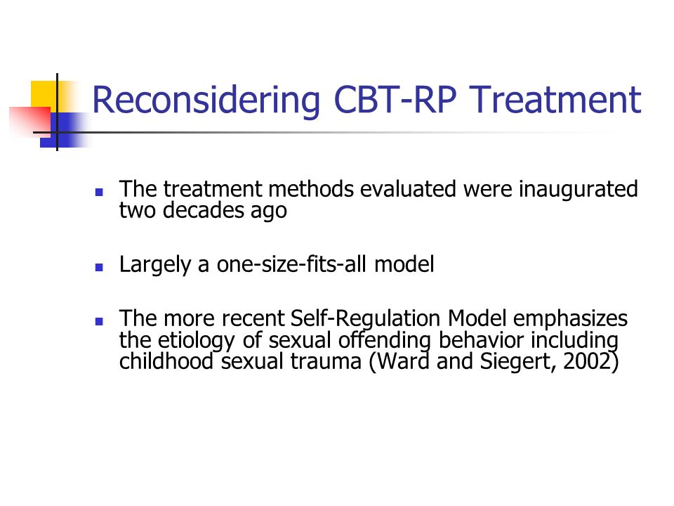Reconsidering CBT-RP Treatment The treatment methods evaluated were inaugurated two decades ago Largely a one-size-fits-all model The more recent Self