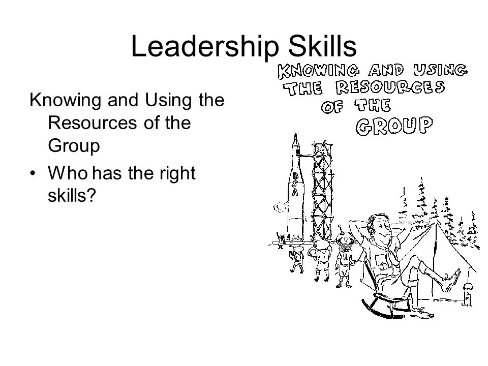 Leadership Skills Knowing and Using the Resources of the Group Who has the right skills?