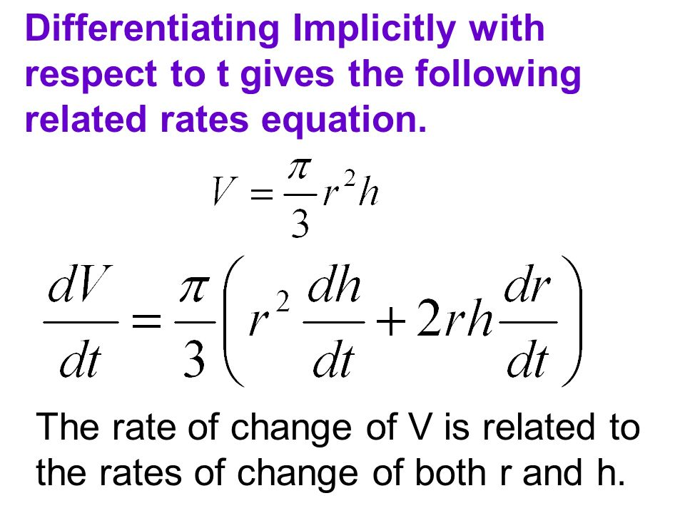 Differentiating Implicitly with respect to t gives the following related rates equation.