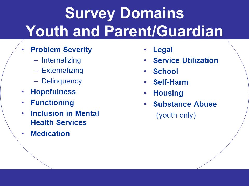 Survey Domains Youth and Parent/Guardian Problem Severity –Internalizing –Externalizing –Delinquency Hopefulness Functioning Inclusion in Mental Healt
