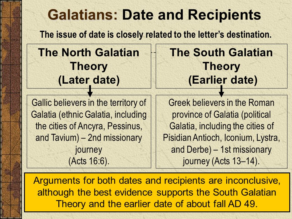 The North Galatian Theory (Later date) The South Galatian Theory (Earlier date) Galatians: Galatians: Date and Recipients The issue of date is closely
