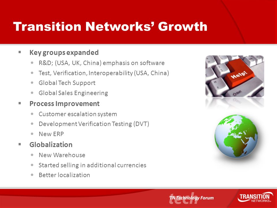 Latest Developments Transition Networks acquired Patapsco Communications in 2011 Immediate access to CES, TDM Multiplexing/aggregation and ISDN Switching technologies Expansion of services in Europe, Middle East and Africa New R&D Centre New Logistics Centre New partners and relationships
