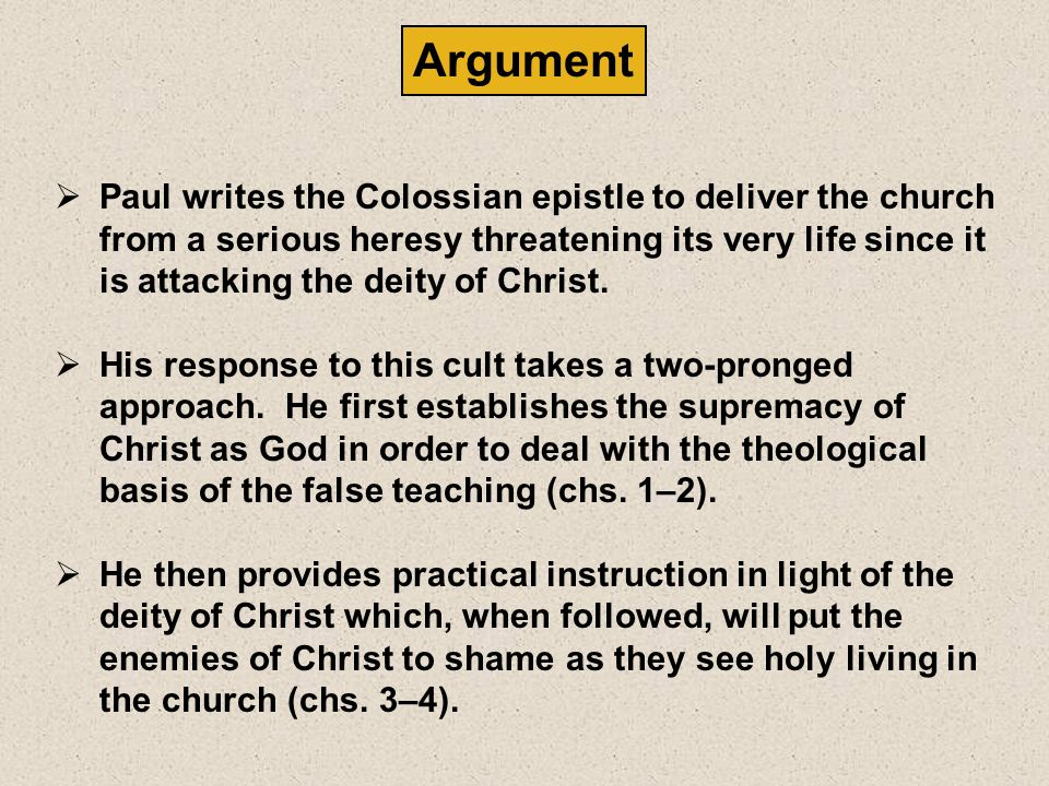 Date Colossians was written during Paul's first imprisonment in Rome (Acts 28:30). The best evidence suggests a specific date of autumn 61. Origin/Rec