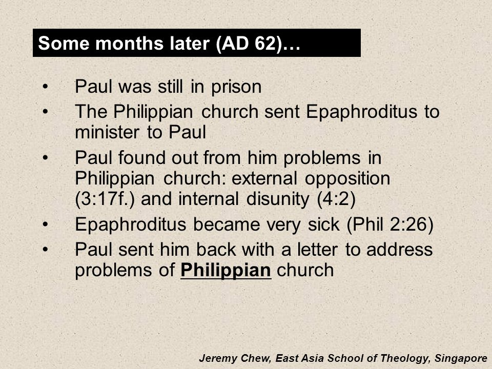 201a Prison Epistle Christology Christ as… Christ as…FocusExplanationEphesiansHead Unity of Christ Christ breaks down barriers between believers PhilippiansExample Attitude of Christ Christ models how to handle difficulty ColossiansGod Deity of Christ Deity of Christ Christ is superior to human philosophies Christ is superior to human philosophies Philemon Reconciler Forgiveness of Christ Forgiveness of Christ Christ reconciles believers to God and one another Christ reconciles believers to God and one another