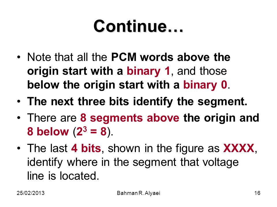25/02/2013Bahman R. Alyaei16 Continue… Note that all the PCM words above the origin start with a binary 1, and those below the origin start with a bin
