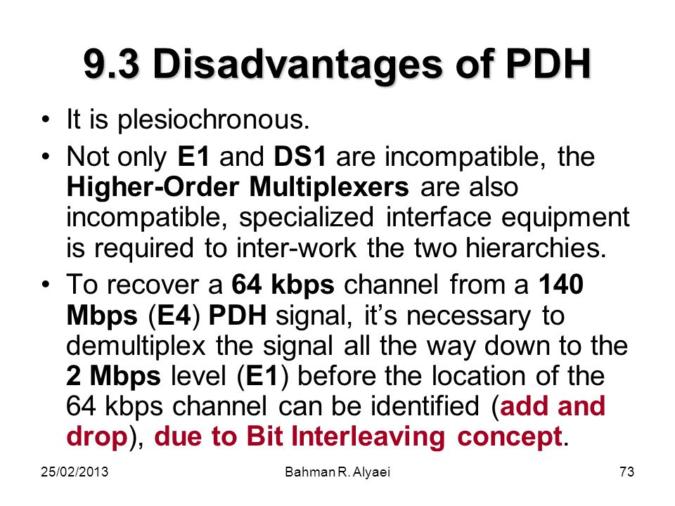 25/02/2013Bahman R. Alyaei73 9.3 Disadvantages of PDH It is plesiochronous. Not only E1 and DS1 are incompatible, the Higher-Order Multiplexers are al