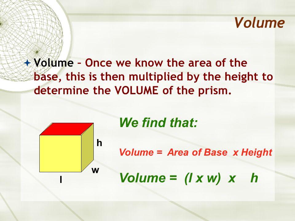 Volume Volume (rectangular prism) Formula: V = B x h V = l x w x h l w h