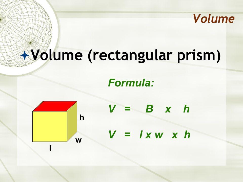 Volume Find the volume of this prism… Formula: V = B x h V = l x w x h 5 cm 4 cm 7 cm