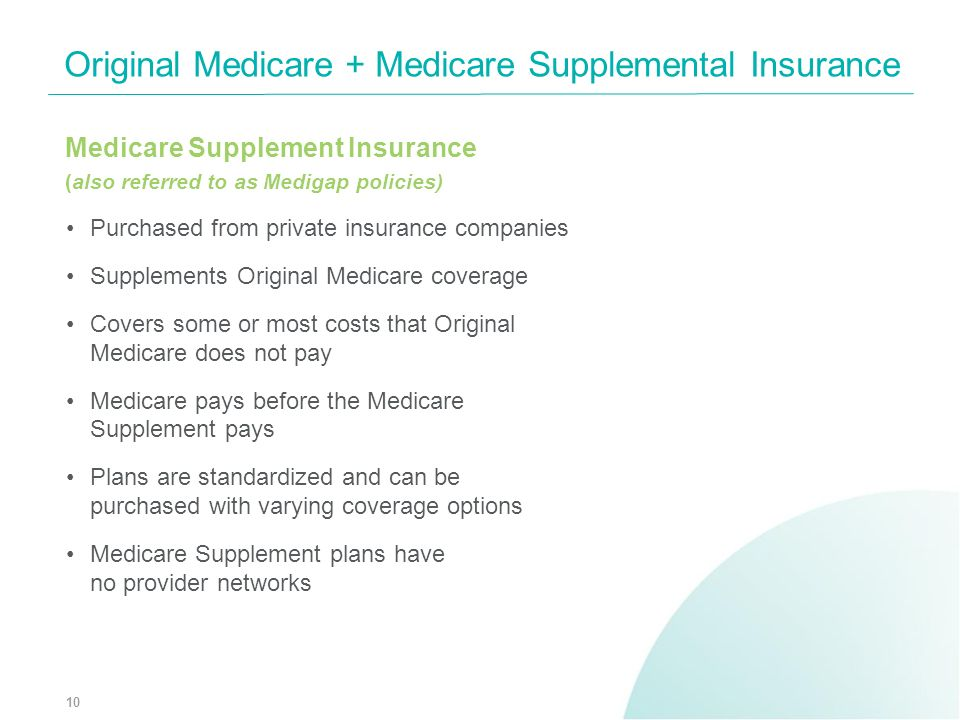 Medicare Supplement Insurance (also referred to as Medigap policies) Purchased from private insurance companies Supplements Original Medicare coverage