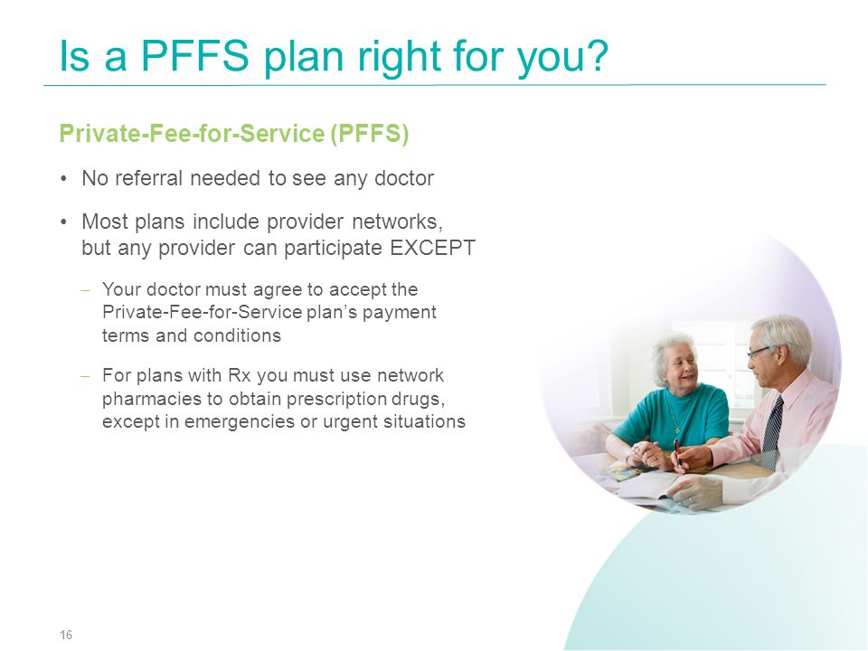 Private-Fee-for-Service (PFFS) No referral needed to see any doctor Most plans include provider networks, but any provider can participate EXCEPT – Yo