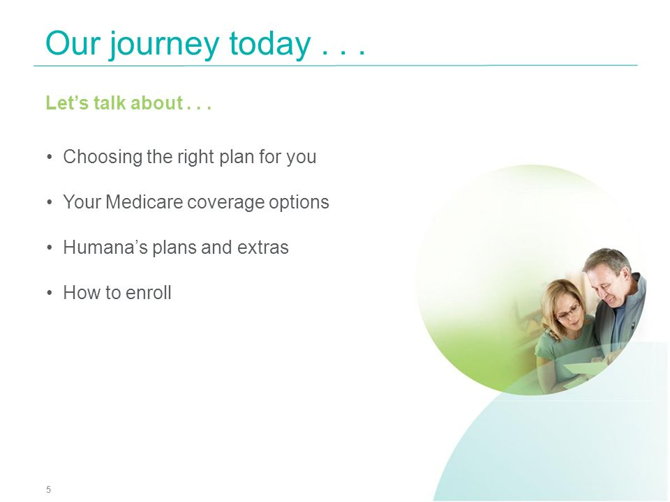 Our journey today... 5 Lets talk about... Choosing the right plan for you Your Medicare coverage options Humanas plans and extras How to enroll