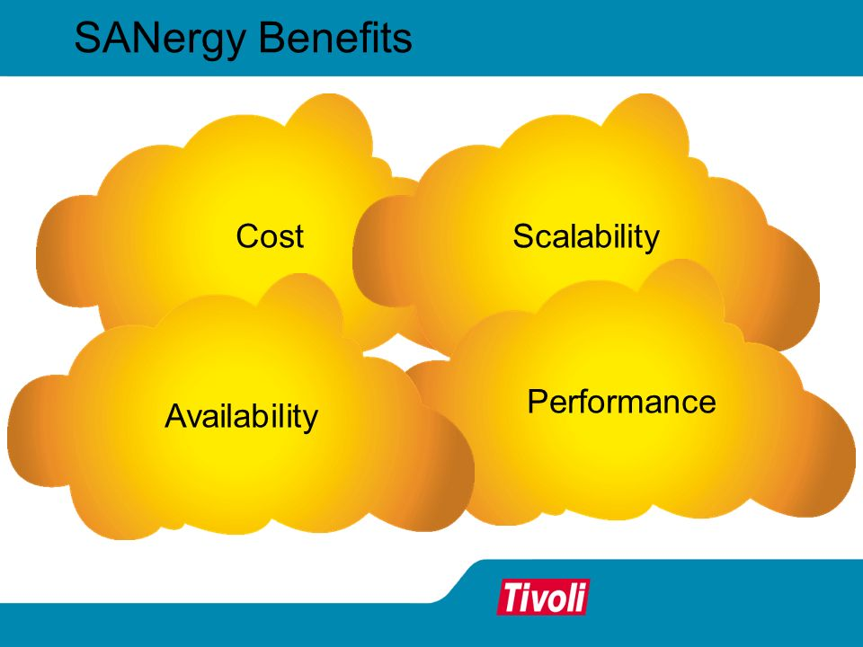 SANergy Benefits CostScalabilityPerformanceAvailability