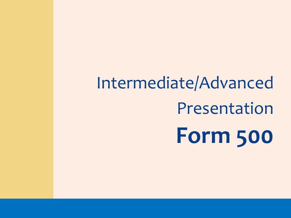 Intermediate/Advanced Presentation Form 500