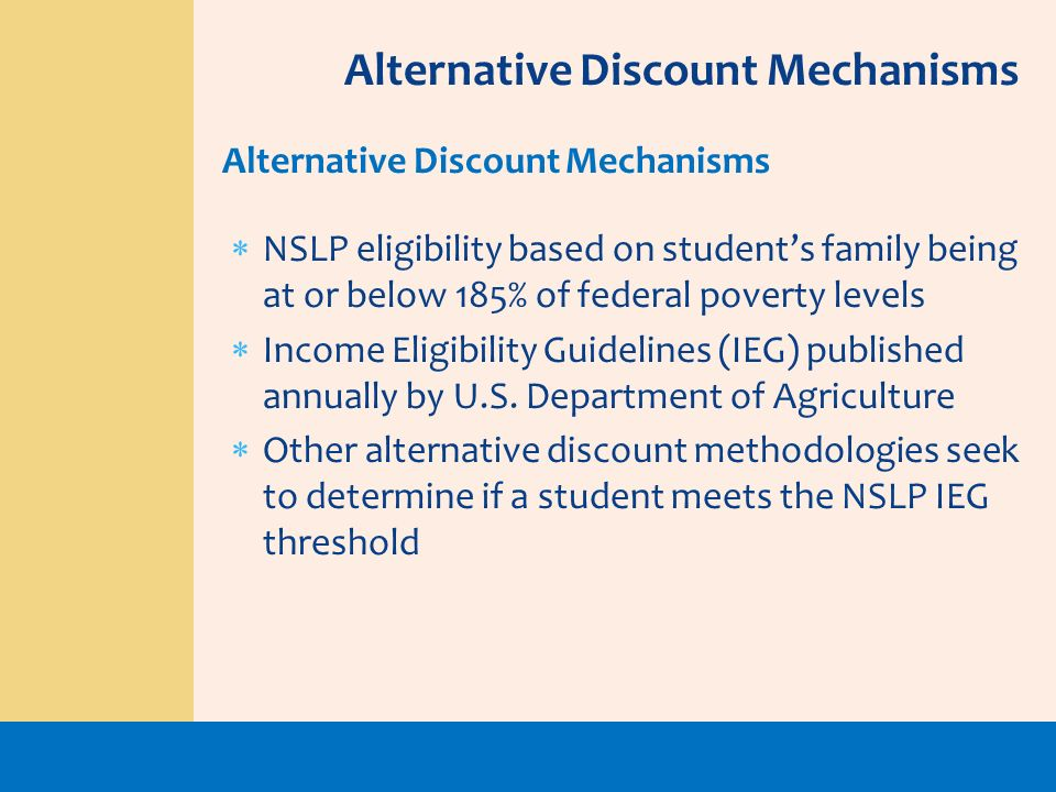 NSLP eligibility based on students family being at or below 185% of federal poverty levels Income Eligibility Guidelines (IEG) published annually by U