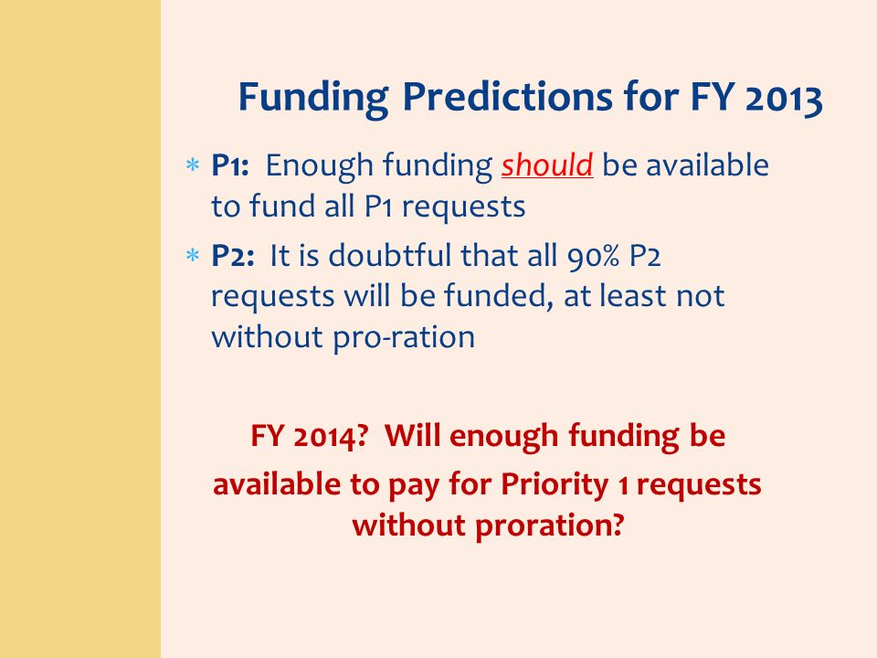 Funding Predictions for FY 2013 P1: Enough funding should be available to fund all P1 requests P2: It is doubtful that all 90% P2 requests will be fun