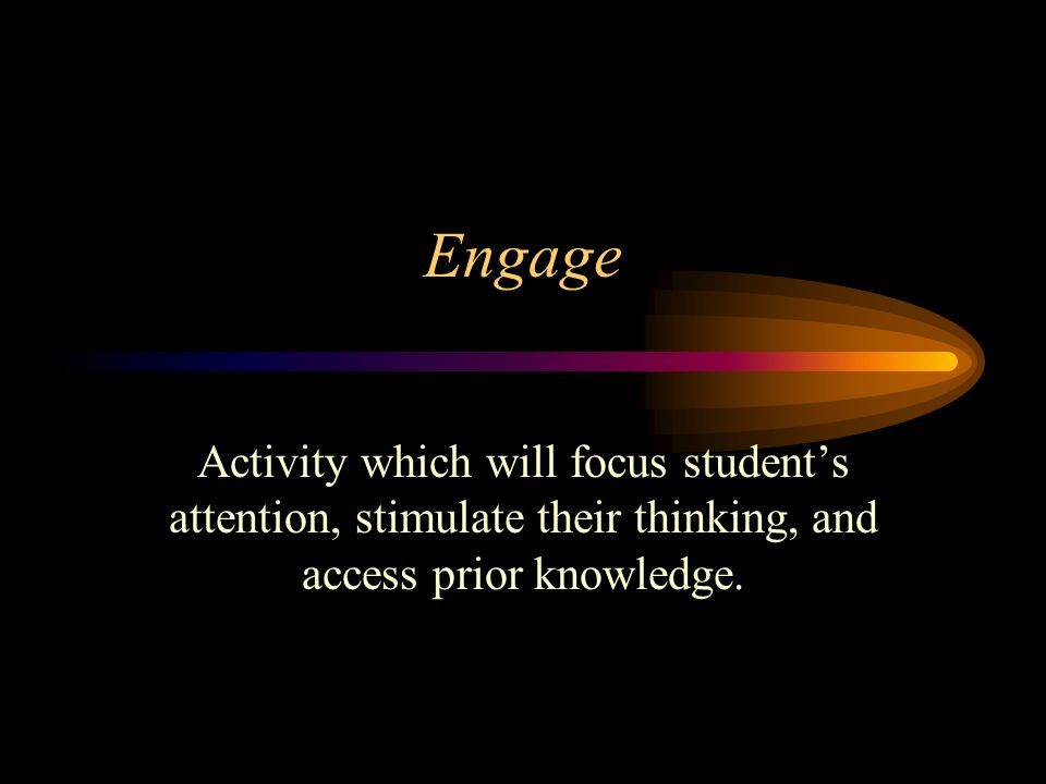 Engage Activity which will focus students attention, stimulate their thinking, and access prior knowledge.