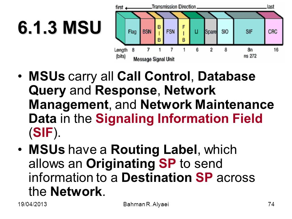 19/04/2013Bahman R. Alyaei74 6.1.3 MSU MSUs carry all Call Control, Database Query and Response, Network Management, and Network Maintenance Data in t
