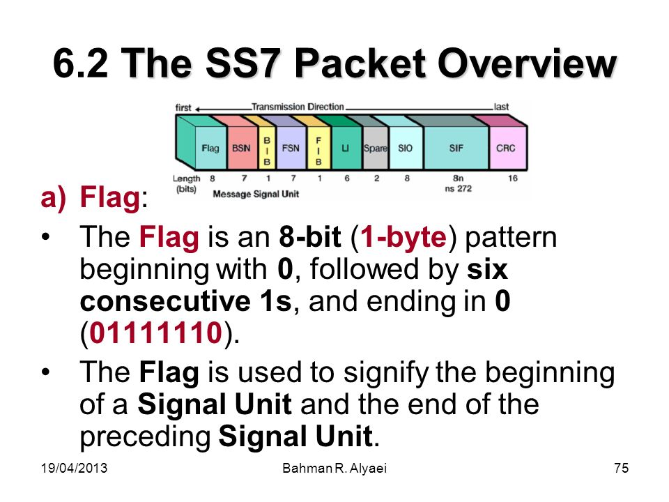 19/04/2013Bahman R. Alyaei75 The SS7 Packet Overview 6.2 The SS7 Packet Overview a)Flag: The Flag is an 8-bit (1-byte) pattern beginning with 0, follo