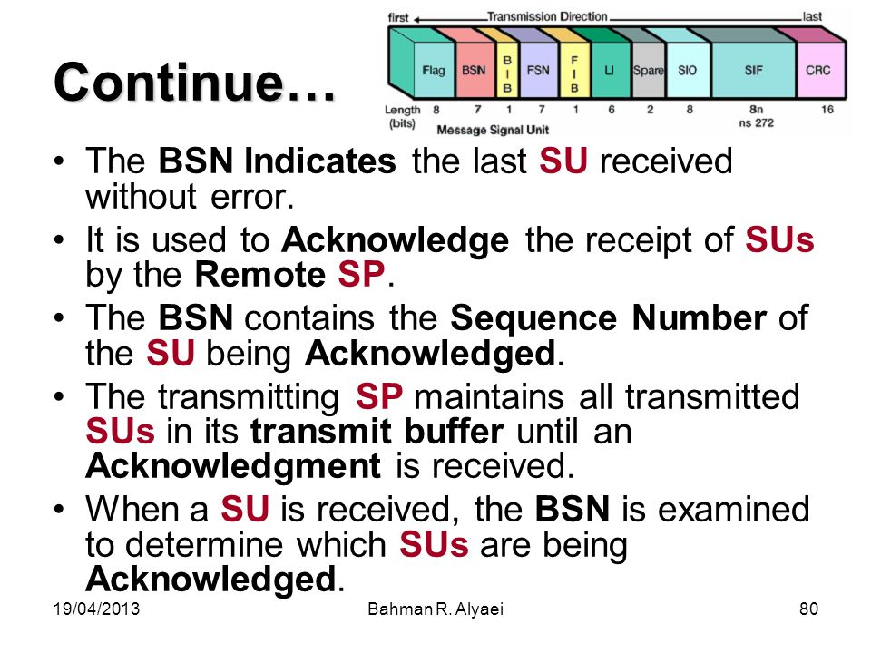 19/04/2013Bahman R. Alyaei80 Continue… The BSN Indicates the last SU received without error. It is used to Acknowledge the receipt of SUs by the Remot