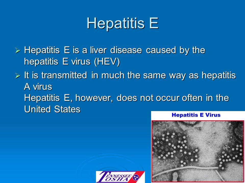 Hepatitis E Hepatitis E is a liver disease caused by the hepatitis E virus (HEV) Hepatitis E is a liver disease caused by the hepatitis E virus (HEV)