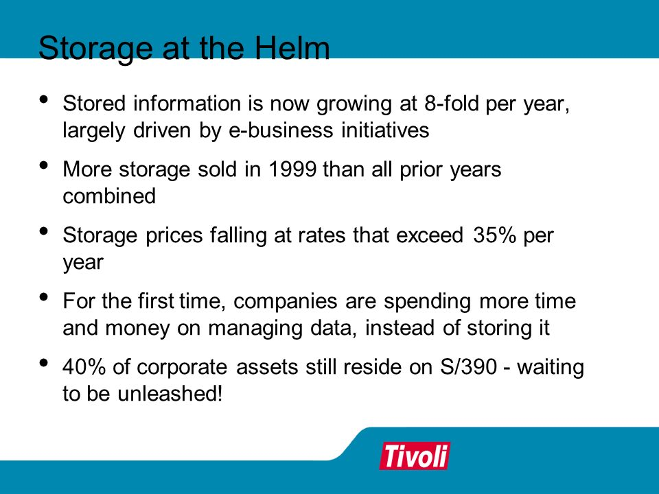 Tivoli Storage Manager protects more than a million systems and applications around the world.