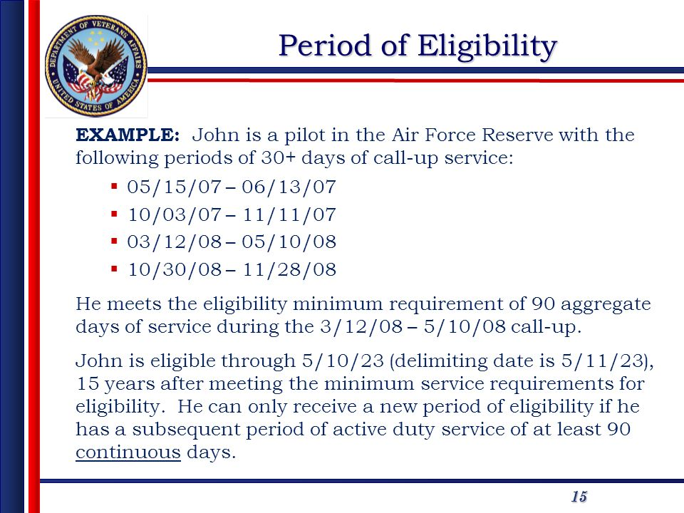 1515 Period of Eligibility EXAMPLE: John is a pilot in the Air Force Reserve with the following periods of 30+ days of call-up service: 05/15/07 – 06/13/07 10/03/07 – 11/11/07 03/12/08 – 05/10/08 10/30/08 – 11/28/08 He meets the eligibility minimum requirement of 90 aggregate days of service during the 3/12/08 – 5/10/08 call-up.