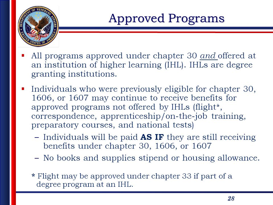 2828 Approved Programs All programs approved under chapter 30 and offered at an institution of higher learning (IHL).